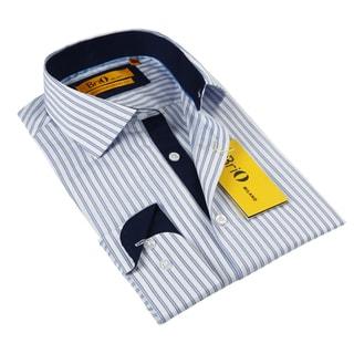 BriO Milano Men's Navy/ Blue/ White Button Down Dress Shirt