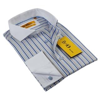 BriO Milano Men's White/ Beige/ Blue Button Down Dress Shirt