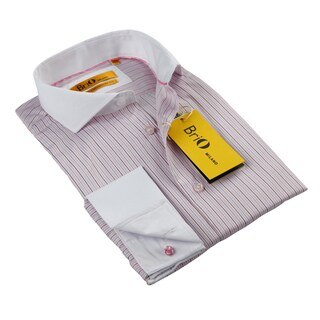 BriO Milano Men's Pink/ Black/ Blue/ White Button Down Dress Shirt