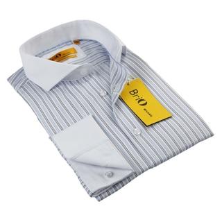 BriO Milano Men's Brown/ Blue/ White Button Down Dress Shirt