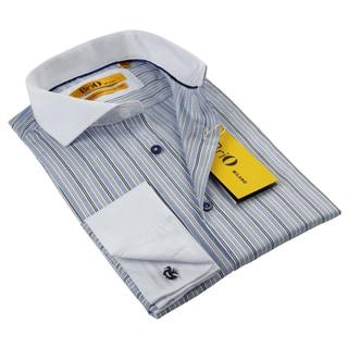 BriO Milano Men's Beige/ Brown/ Blue/ White Button Down Dress Shirt