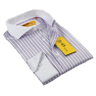 BriO Milano Men's Purple/ White/ Black Button Down Dress Shirt