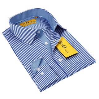 BriO Milano Men's Blue White Stripe Button Down Dress Shirt