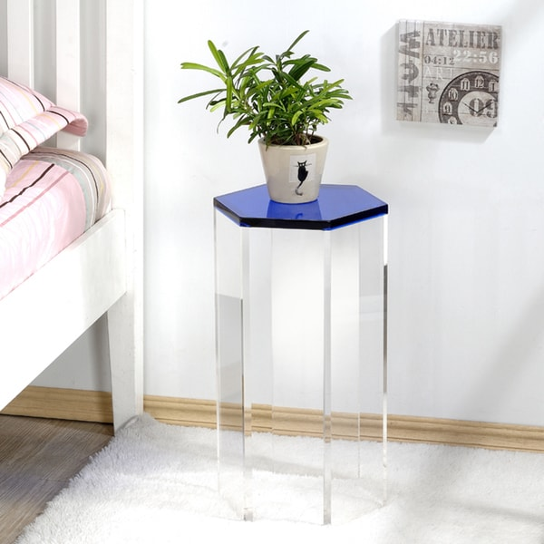 Shop Pure Decor Acrylic Six Sided Accent Table Free Shipping Today - Six sided table