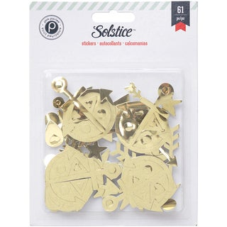 Solstice Foam Stickers 61/Pkg-Gold Shapes