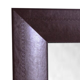 American Made Rayne Stitched Leather 26.25 x 64.25-inch Full Body Mirror