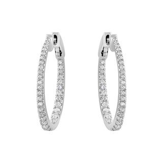 Beverly Hills Charm 14k White Gold 1ct Oval Round-cut Diamond Inside-out Hoop Earrings (H-I, I2-I3)