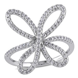 Miadora Sterling Silver Cubic Zirconia Flower Ring