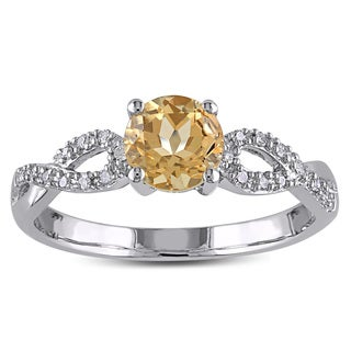 Miadora 10k White Gold Yellow Beryl and 1/10ct TDW Diamond Infinity Ring (G-H, I1-I2)