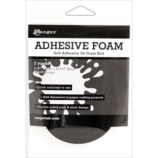 Ranger Adhesive Black Foam Roll 1/2inX1/16inX2yd