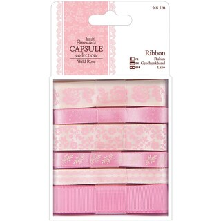Papermania Wild Rose Ribbon 6/Pkg-1m Each