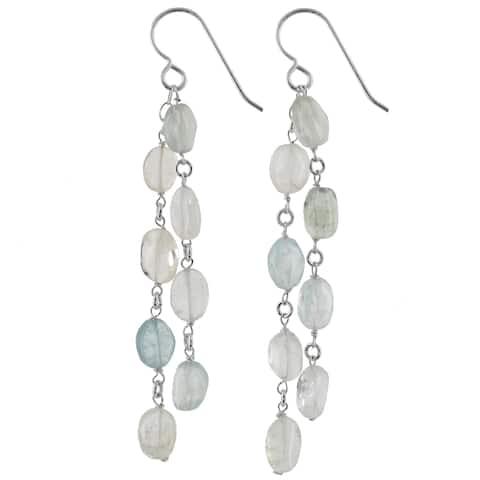 Aquamarine Gemstone Handmade Silver Earrings