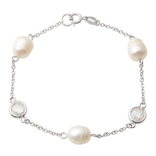 Journee Collection Sterling Silver Cubic Zirconia Faux Pearl Bracelet