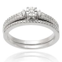 Journee Collection Sterling Silver Diamond 1/10 TDW Wedding Ring Set