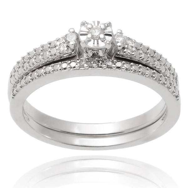 Journee Collection Sterling Silver Diamond 1 10 TDW Wedding Ring Set
