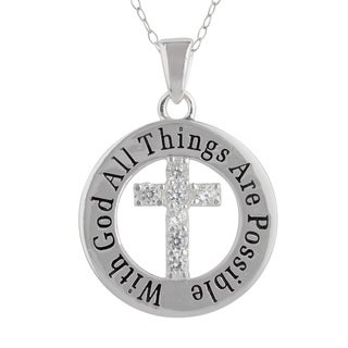 Sunstone Sterling Silver 'With God All Things' Cubic Zirconia Cross Necklace in Gift Box