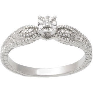 Journee Collection Sterling Silver Vintage Diamond Engagement Ring (H-I, SI-SI2)
