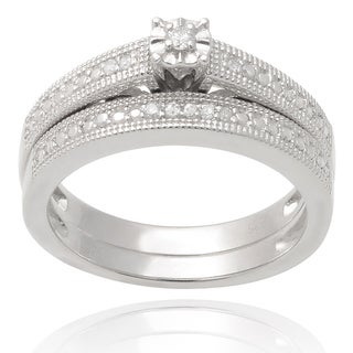 Journee Collection Sterling Silver Diamond 1/6 TDW Wedding Ring Set