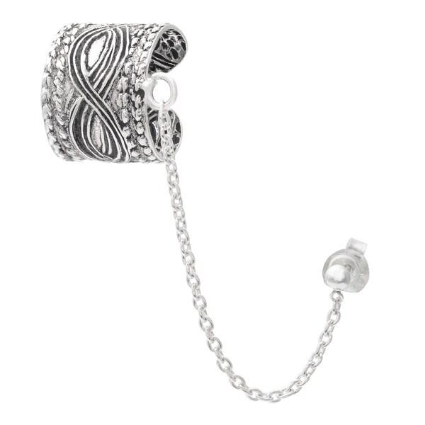 Journee Collection Sterling Silver Chain Earcuff Earrings