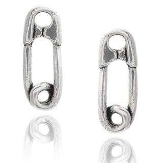 Journee Collection Sterling Silver Safety Pin Stud Earrings