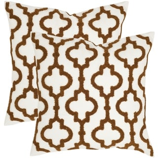 Safavieh Lucy Brown 18-inch Square Throw Pillows (Set of 2)