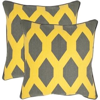 Safavieh Allen Yellow/ Grey 18-inch Square Throw Pillows (Set of 2)