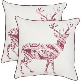 Safavieh Paisley Red/ White 18-inch Throw Pillows (Set of 2)