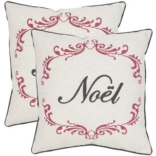 Safavieh Noel Beige/ Red 18-inch Throw Pillows (Set of 2)