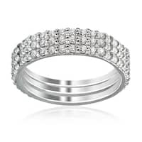ICZ Stonez Sterling Silver Cubic Zirconia Eternity Stackable Wedding Bands Set