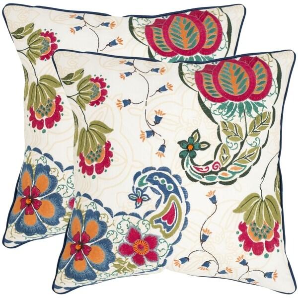 Safavieh Melissa Multi 22-inch Square Throw Pillows (Set of 2)