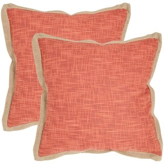Safavieh Madeline Red 22-inch Square Throw Pillows (Set of 2)