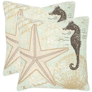 Safavieh Lauren Seafoam/ Green 18-inch Square Throw Pillows (Set of 2)