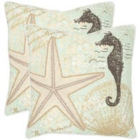 Safavieh Lauren Seafoam/ Green 22-inch Square Throw Pillows (Set of 2)