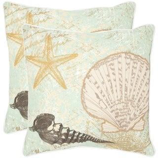 Safavieh Eve Seafoam/ Green 18-inch Square Throw Pillows (Set of 2)