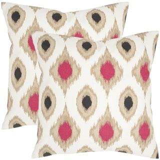 Safavieh Miranda Taupe 22-inch Square Throw Pillows (Set of 2)