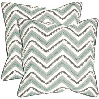 Safavieh Elli Green/ White 18-inch Square Throw Pillows (Set of 2)