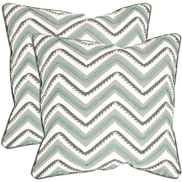 Safavieh Elli Green/ White 18-inch Square Throw Pillows (Set of 2)