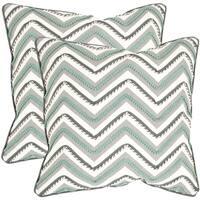 Safavieh Elli Green/ White 22-inch Square Throw Pillows (Set of 2)
