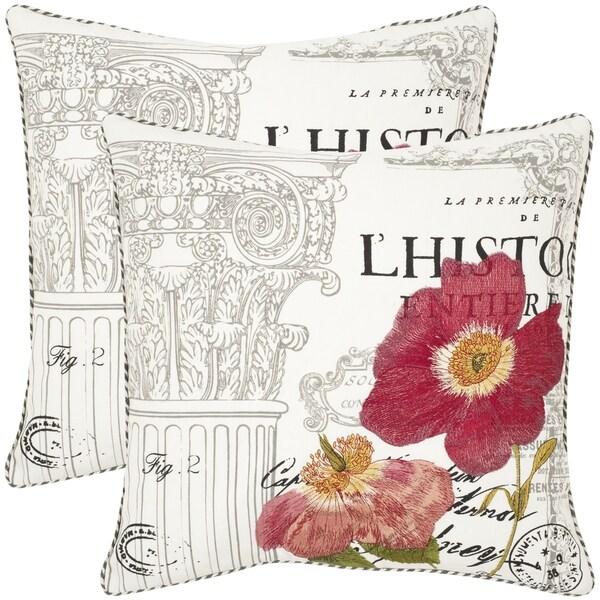 Safavieh Bella White 18-inch Square Throw Pillows (Set of 2)