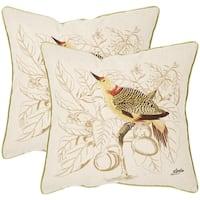 Safavieh Esty Cream 22-inch Square Throw Pillows (Set of 2)