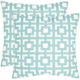 Safavieh Emily Turquoise 18-inch Square Throw Pillows (Set of 2)