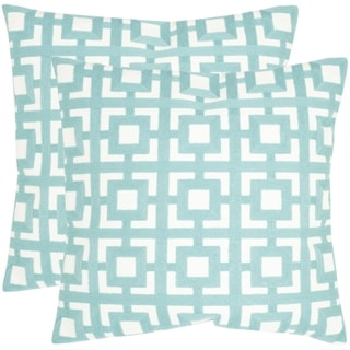 Safavieh Emily Turquoise 22-inch Square Throw Pillows (Set of 2)