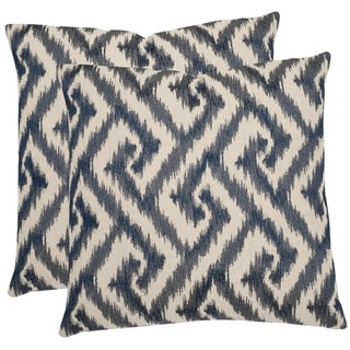 Safavieh Teddy Blue 22-inch Square Throw Pillows (Set of 2)