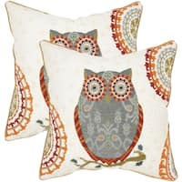 Safavieh Percy Grey 22-inch Square Throw Pillows (Set of 2)