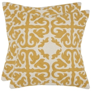 Safavieh Morrocan Mustard 22-inch Square Throw Pillows (Set of 2)