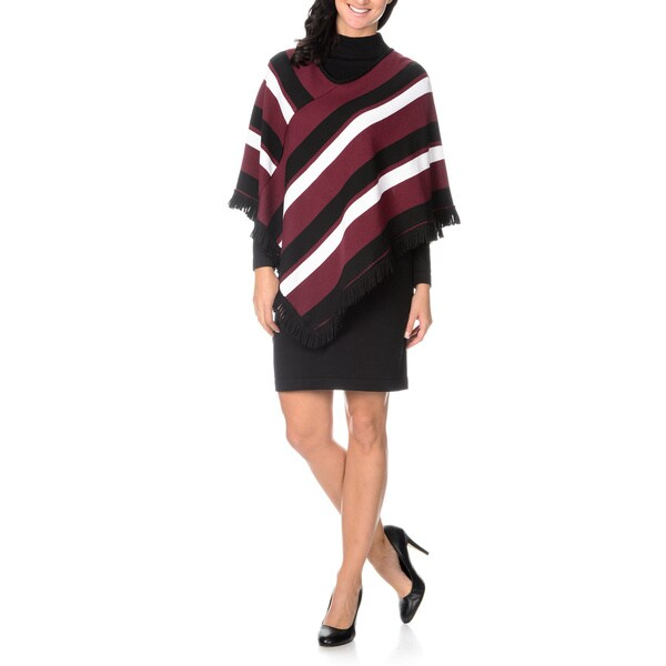 0c62f0937fa Lennie for Nina Leonard Womens Long Sleeve Sweater Dress with Striped Poncho