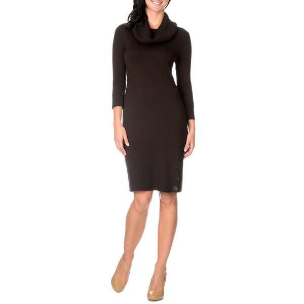 Lennie for Nina Leonard 3/4 Sleeve Womens Cowl Neck Sweater Dress