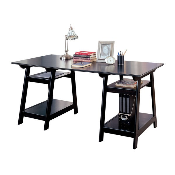 coaster company trestle black wood desk free shipping today