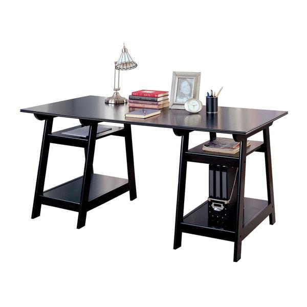 coaster company trestle black wood desk free shipping today