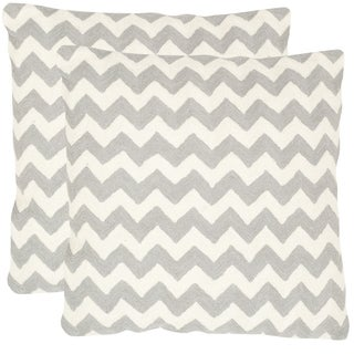 Safavieh Striped Telea Light Grey 18-inch Square Throw Pillows (Set of 2)